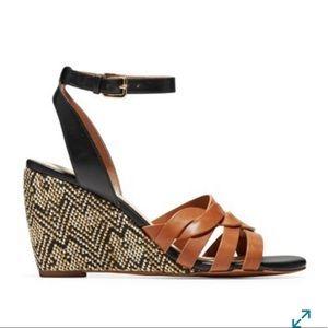 Cole Haan Myra Grand Braid Wedge black tan size 10